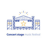 Mobile performance stage, portable podium, entertainment event services. Concert stage rental services, mobile podium, entertainment show, music festival Royalty Free Stock Photography