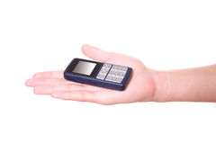 Mobile phone. Hand holding mobile phone on white background royalty free stock photography