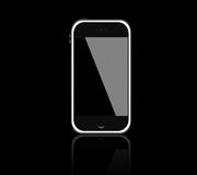 Mobile phone. Generic touch screen cell phone, sleek black design with chrome trim on a black background Stock Photography