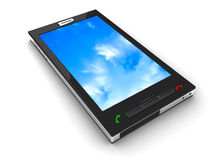 Mobile phone. And sky.  3D render Stock Photography