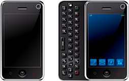 Mobile Phone. The new technology mobile phone with icons set on isolated background stock illustration