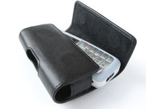Mobile phone. With leather holster Stock Images