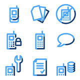 Mobile phone 2 icons. Vector web icons, blue contour series