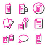 Mobile phone 2 web icons, pink contour series Royalty Free Stock Image
