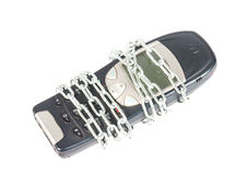Mobile Phone. With Chain over a white Background Royalty Free Stock Photos