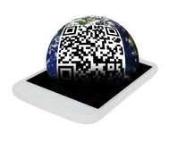 Mobile Phone. With QR Code on Planet Earth on Display - Isolated on White. Elements of this image furnished by NASA Royalty Free Stock Photography
