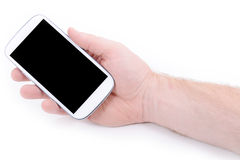 Mobile phone. Hand holding mobile phone on white background Stock Images