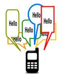 Mobile phone. Black mobile phone with dialog bubbles Royalty Free Stock Photo