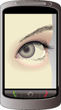 Mobile phone. With eye on display Royalty Free Stock Photography