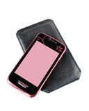 Mobile phone. And case on a white background Royalty Free Stock Photos