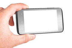 Mobile phone. Modern mobile phone in hand isolated on white background Royalty Free Stock Photography