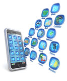 Mobile phone 3d applications on white background Royalty Free Stock Photos