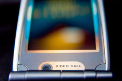 Mobile phone. In close-up - video call conversation stock photo
