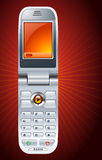 Mobile Phone. A vector illustration of a mobile phone with an orange theme and a matching background Stock Photo