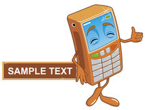 Mobile phone. Vector Character mobile phono with sample text Stock Illustration