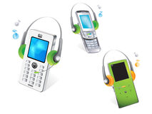 Mobile phone. Vector drawing of isolated mobile phone or cell phone,headphones Royalty Free Stock Images