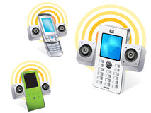 Mobile phone. Vector drawing of isolated mobile phone or cell phone stock illustration