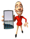 Mobile phone. Casual guy with a Mobile phone, 3d generated Royalty Free Stock Photos