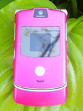 Mobile phone. Pink mobile phone on a green leaf Royalty Free Stock Photography