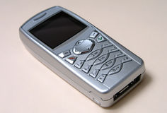 Mobile Phone. Silver mobile phone Royalty Free Stock Images