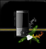 Mobile phone. Icon of a black cell phone, computer Royalty Free Stock Image
