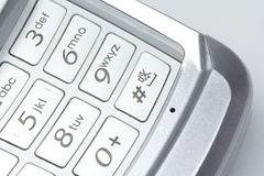 Mobile phone. A cell phone close up shot of number pad Royalty Free Stock Photo