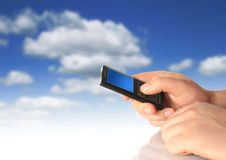 Mobile phone. Mobile phone in hand. Communication conceptual image Royalty Free Stock Image