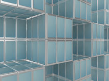 Mobile phone abstract cubicle background. Constructed from cellphones Stock Photo