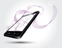 Mobile phone with abstract lines Stock Images
