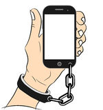 Mobile phone addiction concept. Smartphone chained to handcuff in hand isolated on white. vector illustration. chained arm. Royalty Free Stock Photography
