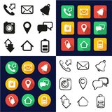 Mobile Phone All in One Icons Black & White Color Flat Design Freehand Set vector illustration