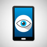 Mobile phone app eye surveillance. Vector illustration eps 10 Royalty Free Stock Image