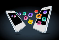Mobile phone with app icons  illustration Royalty Free Stock Images