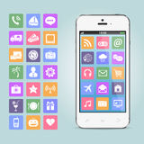 Mobile phone with app icons Stock Photography