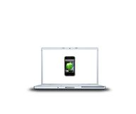 Mobile phone with apple on laptop screen isolated Royalty Free Stock Image
