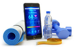 Mobile phone application for health monitoring after sport activity training and fitness workout Stock Image