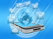 Mobile phone with application icons Stock Photography