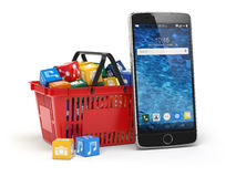 Mobile phone application software icons in the shopping basket Stock Photography