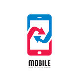 Mobile phone application - vector logo template concept illustration. Abstract smartphone with arrows sign. Design element Stock Photography