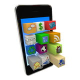 Mobile phone applications. Smartphone application icons shooting out of screen Royalty Free Stock Photo