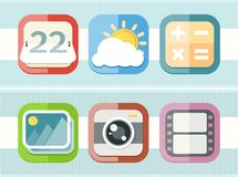 Mobile phone applications black icons set Stock Photo
