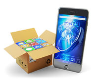 Mobile phone applications pack, package of computer apps, multimedia technology and online store market concept Stock Images