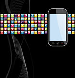 Mobile phone apps icons background Stock Photography