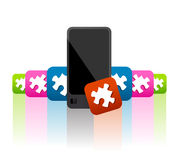Mobile phone apps and widgets. Illustrated set of applications and widgets, as games, tools and players, as jigsaw puzzle icons, available for mobile phone Royalty Free Stock Photos