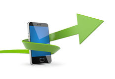 Mobile phone with arrow Stock Images