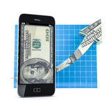 Mobile phone with the Arrow Graph. Royalty Free Stock Photography