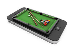 Mobile Phone as Pool Table Stock Image