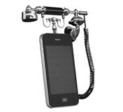 Mobile Phone as Vintage Telephone Stock Photo