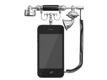 Mobile Phone as Vintage Telephone Royalty Free Stock Photography