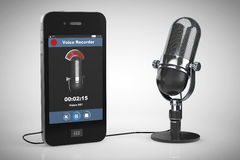 Mobile Phone as Voice Recorder with Microphone Royalty Free Stock Photography